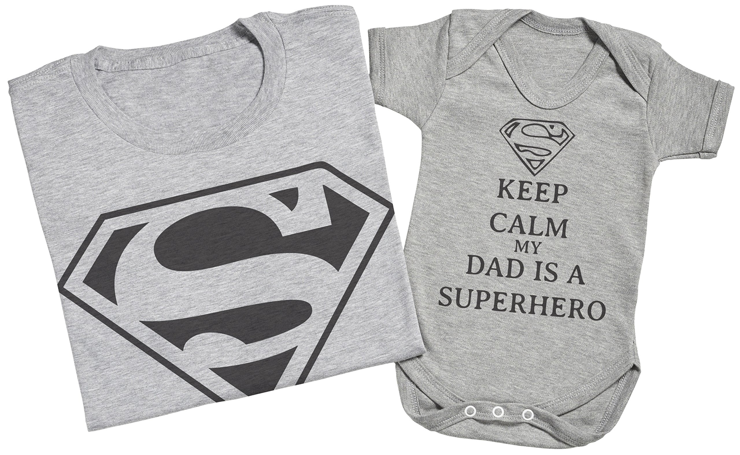 Mens T Shirt /& Baby Bodysuit Keep Calm Dad is A Super Hero Matching Father Baby Gift Set