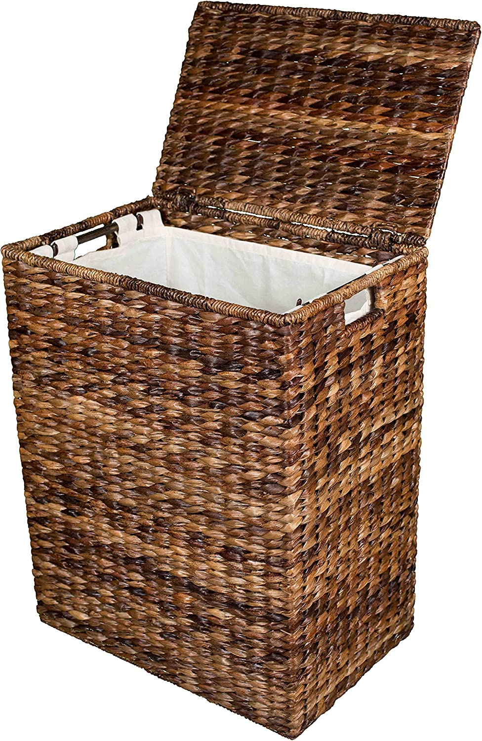 BirdRock Home Abaca Laundry Hamper - Hand Woven - Removable Canvas Laundry Bag