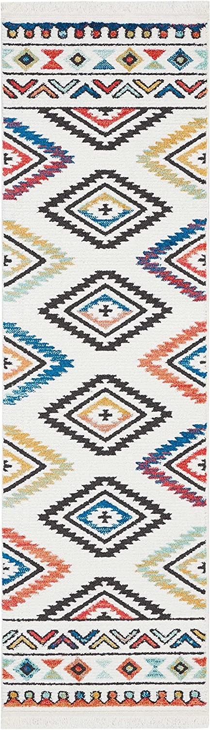 Nourison TRL06 Tribal D/écor Traditional Colorful Area Rug 22 X 79 White