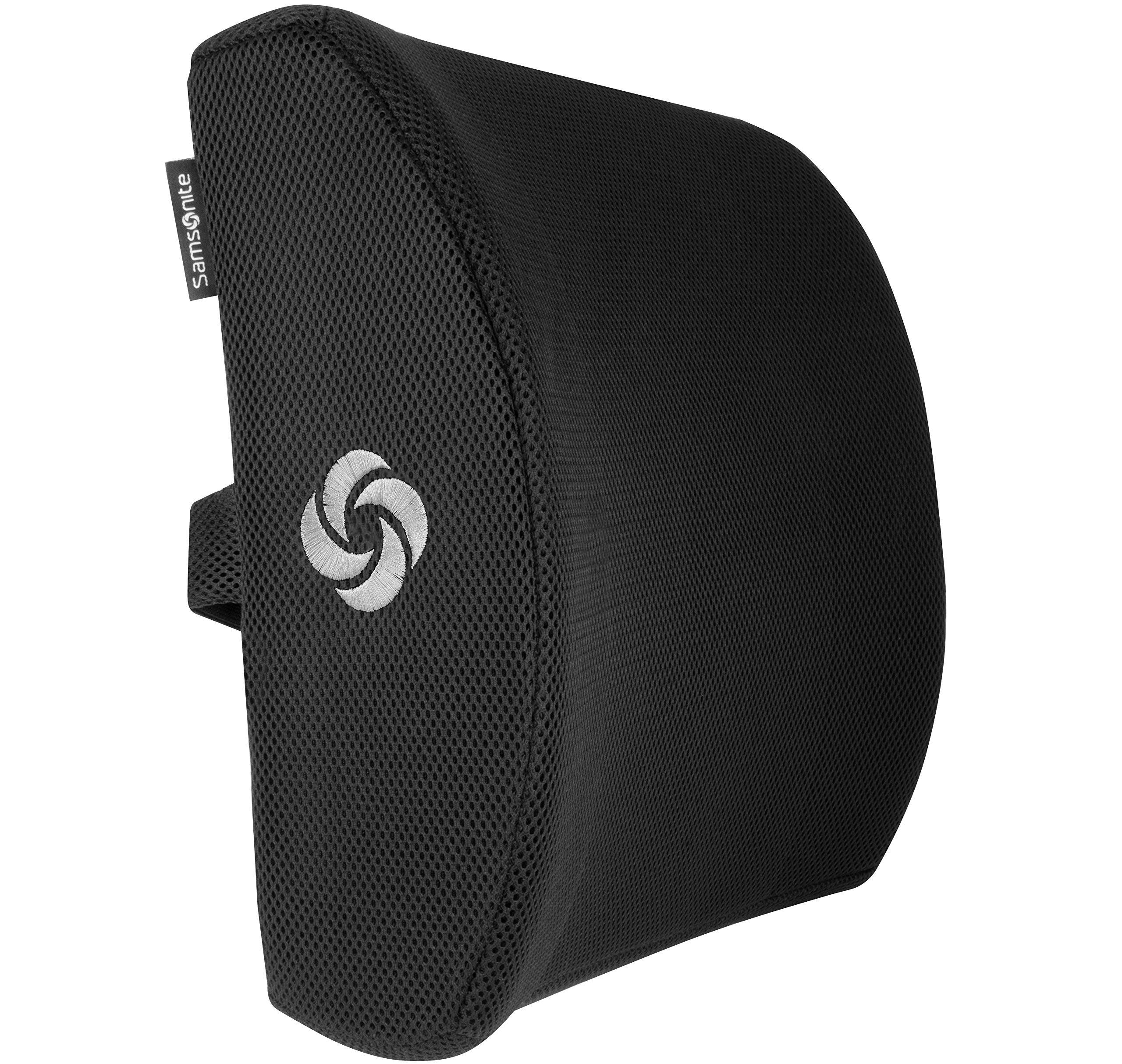 Samsonite SA5243 - Ergonomic Lumbar Support Pillow - Helps Relieve Lower Back Pain - 100% Pure Memory Foam - Improves Posture - Fits Most Seats - Breathable Mesh - Washable Cover - Adjustable Strap by Samsonite (Image #2)