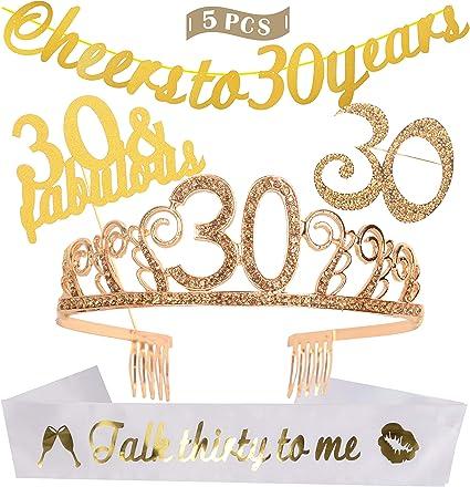 Amazon.com: Decoración de cumpleaños número 30, suministros ...