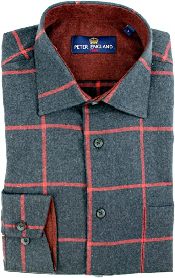 Peter England Camisa de cuadros azul y rojo melange con ...