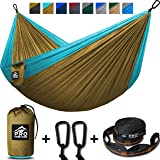 Double Camping Hammock - XL Hammocks, FREE Premium Straps & Carabiners - Lightweight + Compact Parachute Nylon - Backpacker Approved and Ready for Adventure!