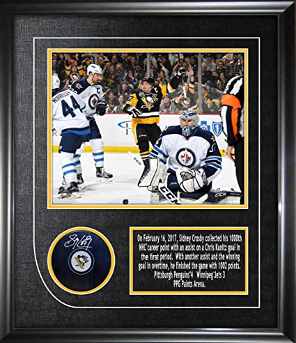Frameworth Sidney Crosby Signed Puck Penguins Framed w 8x10 1000th ... f7f1927d892