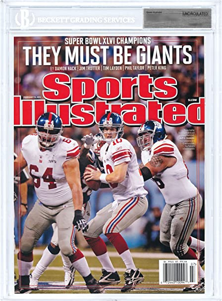 84c2b4a63 Amazon.com  Eli Manning New York Giants 2012 Super Bowl Sports Illustrated  Beckett Uncirculated Encased only 40 made  Sports Collectibles