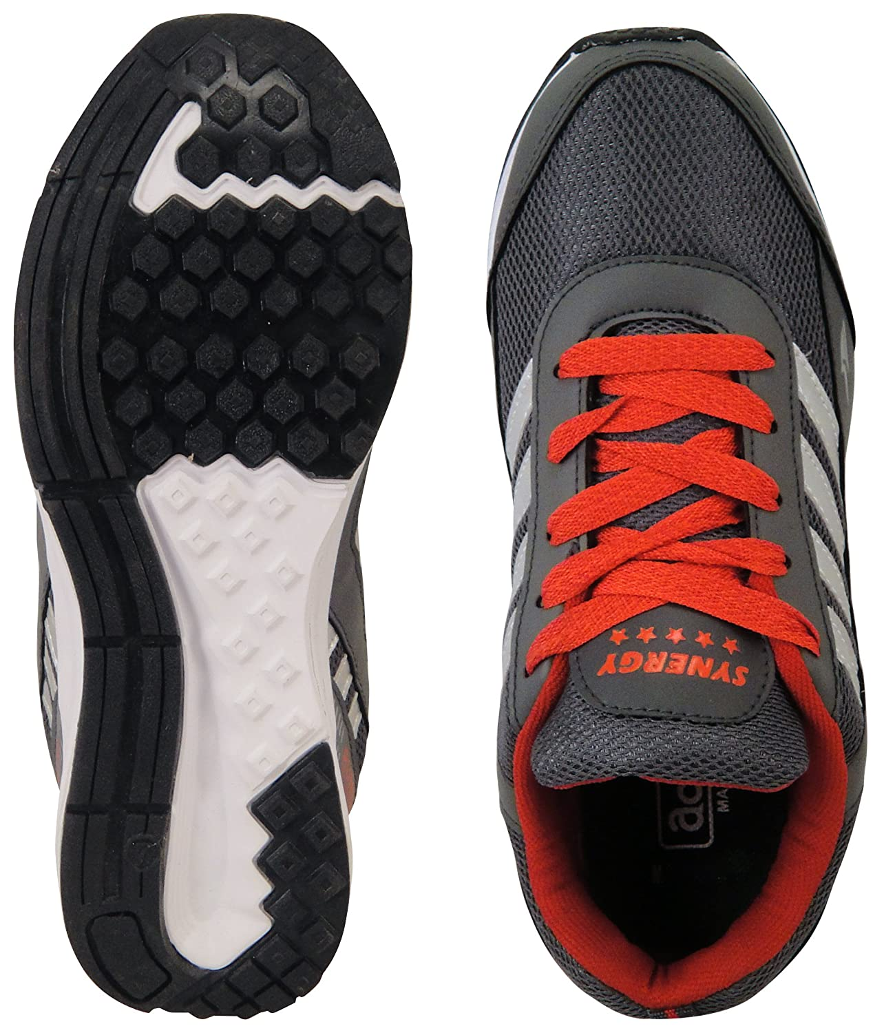 8b53a1174 Action Shoes Men s Dark Grey and Red PU-Mesh Sports Shoes - 8 UK  Buy Online  at Low Prices in India - Amazon.in