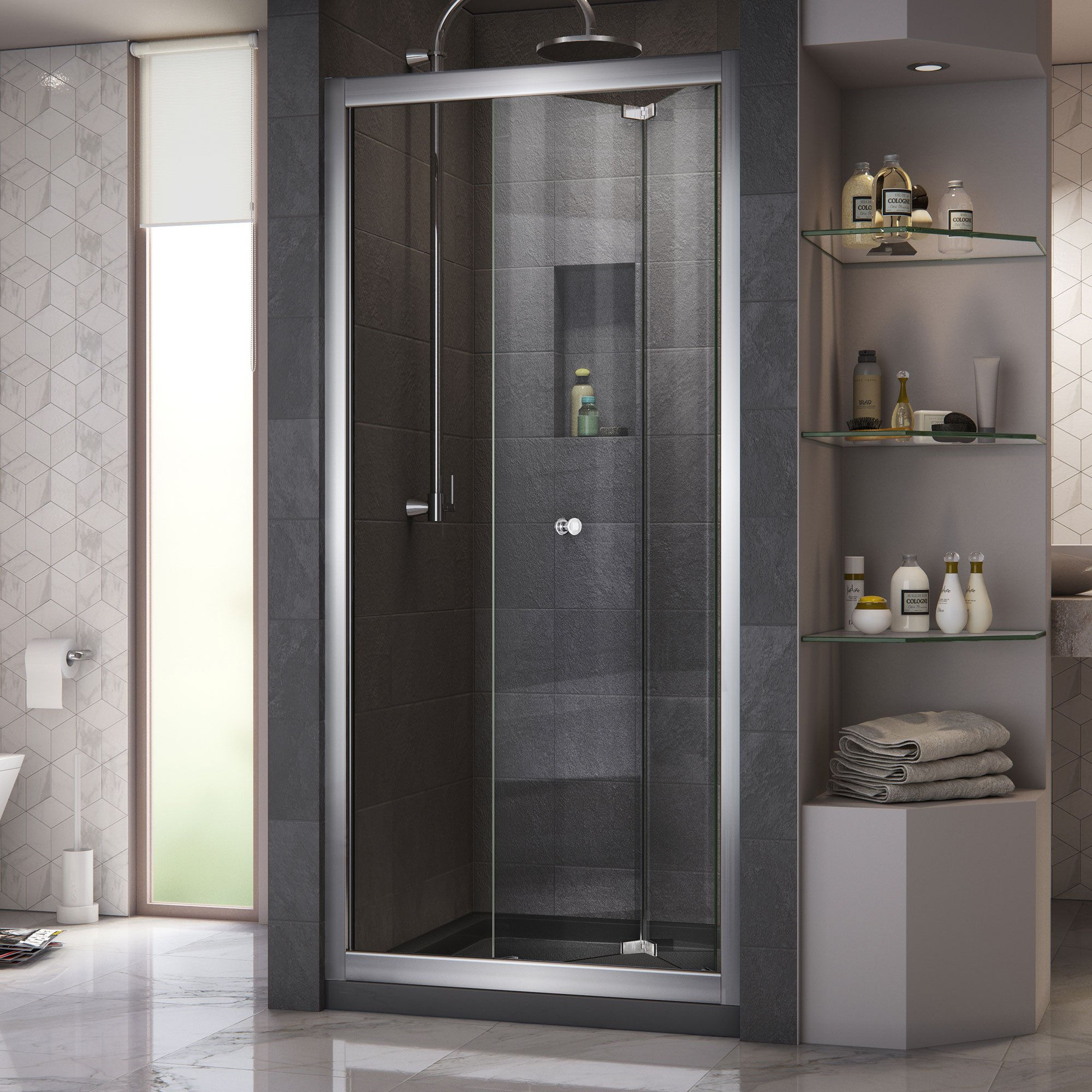 DreamLine Butterfly 34-35 1/2 in. Width, Frameless Bi-Fold Shower Door, 1/4'' Glass, Chrome Finish by DreamLine (Image #3)