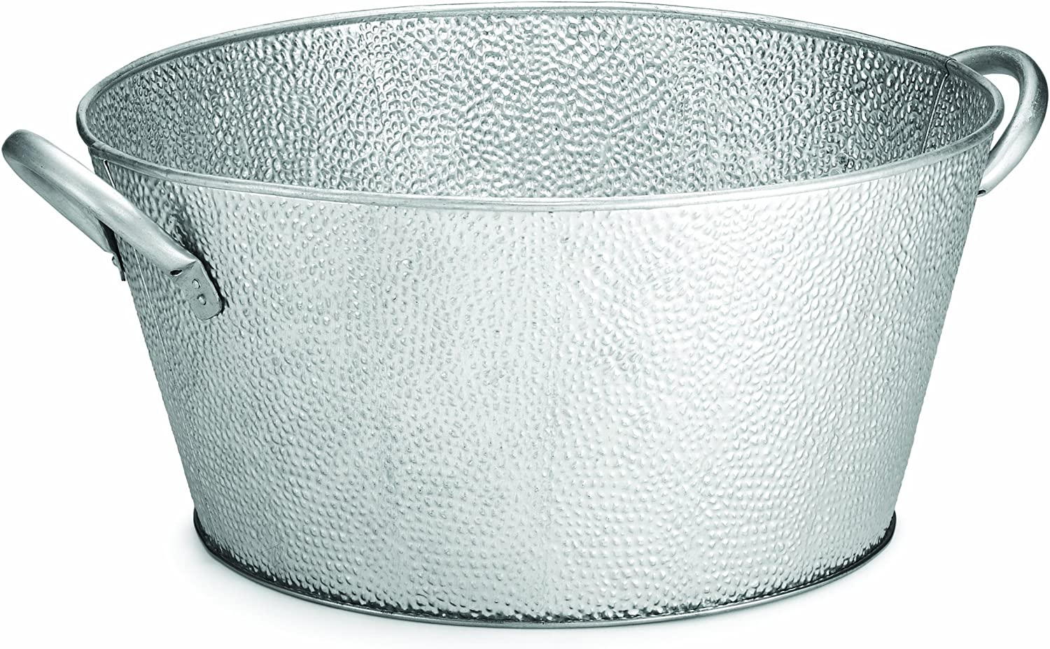 TableCraft GT1515 Galvanized Collection Round Beverage Tub, 18.5 x 15.1 x 7-Inch