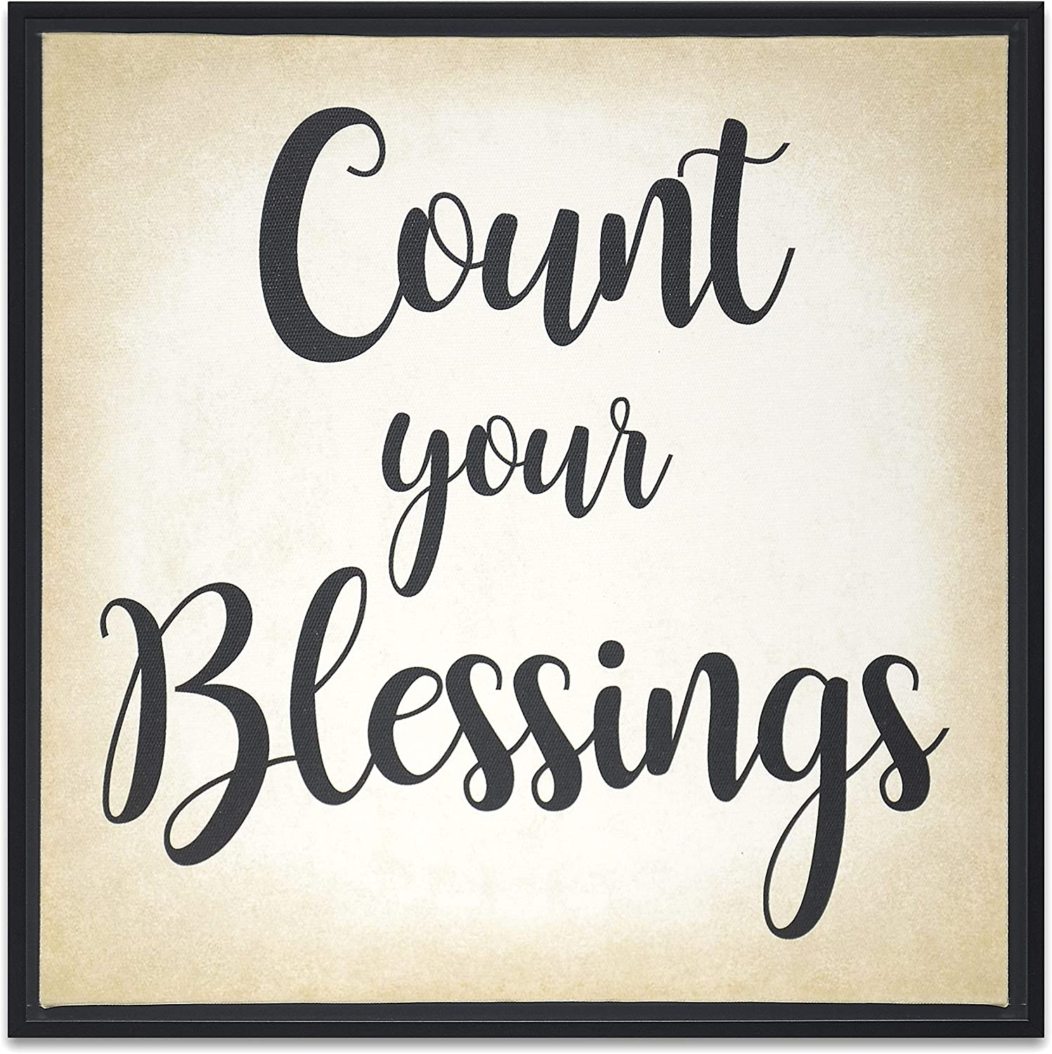 Homekor Count Your Blessings Inspirational Quote - Faith Based Motivational Sign - Framed Art Canvas Print Hanging Wall Decor 12 x 12