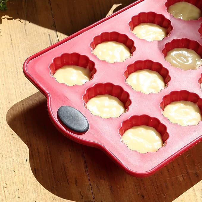 LEVIVO Molde de Horno de Silicona para 12 canelés, minimagdalenas y Cupcakes, Rojo, 28 cm: Amazon.es: Hogar