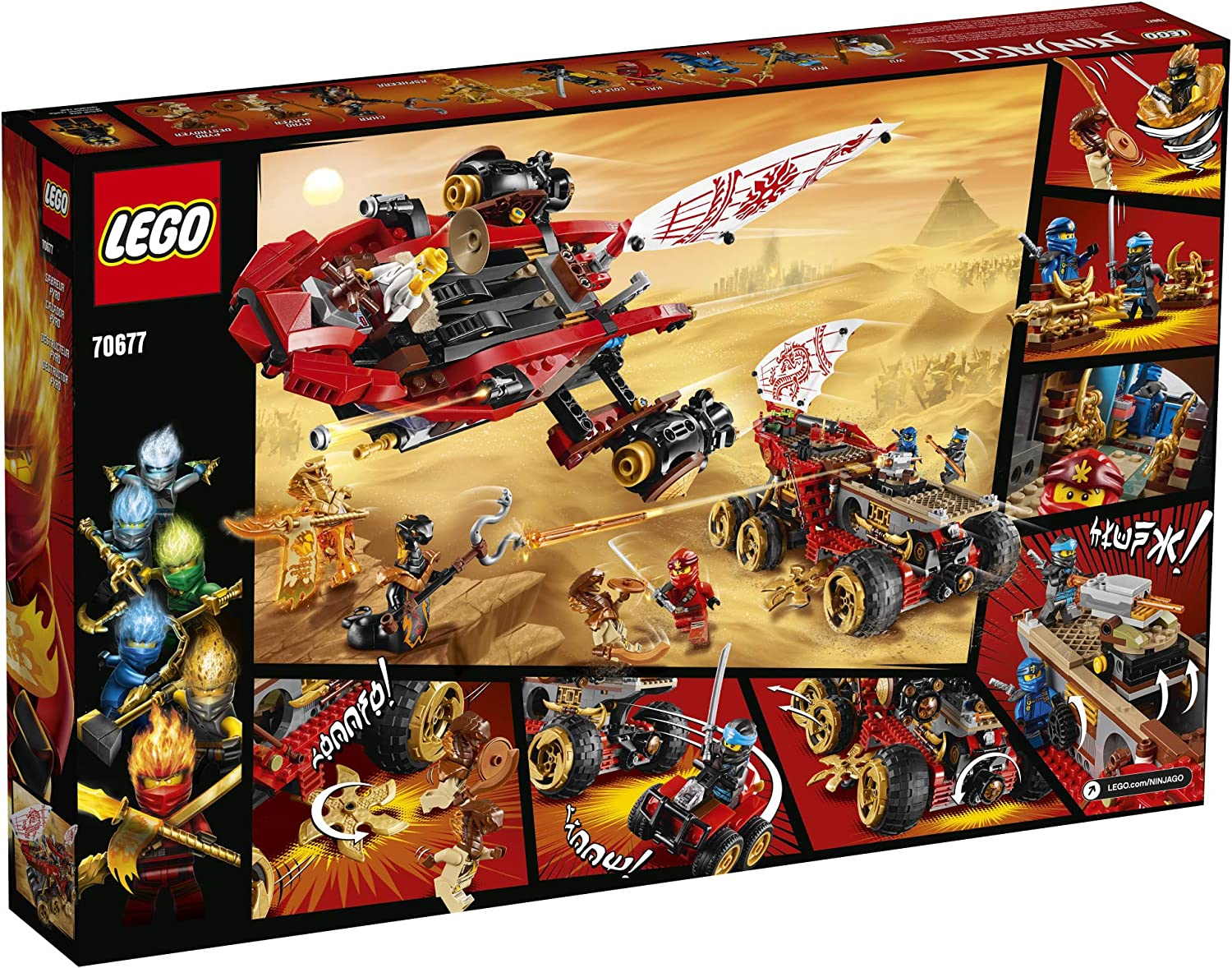 1,178 Pieces Popular Action Toy with Two Toy Vehicles and Toy Ninja Weapons for Creative Play LEGO NINJAGO Land Bounty 70677 Toy Truck Building Set with Ninja Minifigures