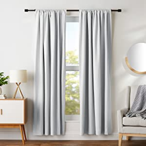 "AmazonBasics Room Darkening Blackout Window Curtains with Tie Backs Set, 52"" x 84"", Light Grey"
