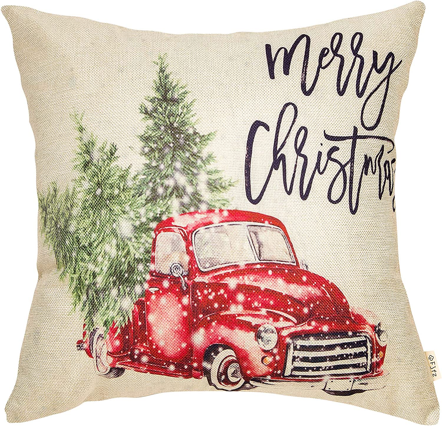 "Fjfz Merry Christmas Decor Retro Red Truck with Trees Snowflakes Winter Holiday Sign Farmhouse Decoration Gift Cotton Linen Home Decorative Throw Pillow Case Cushion Cover for Sofa Couch 18"" x 18"""