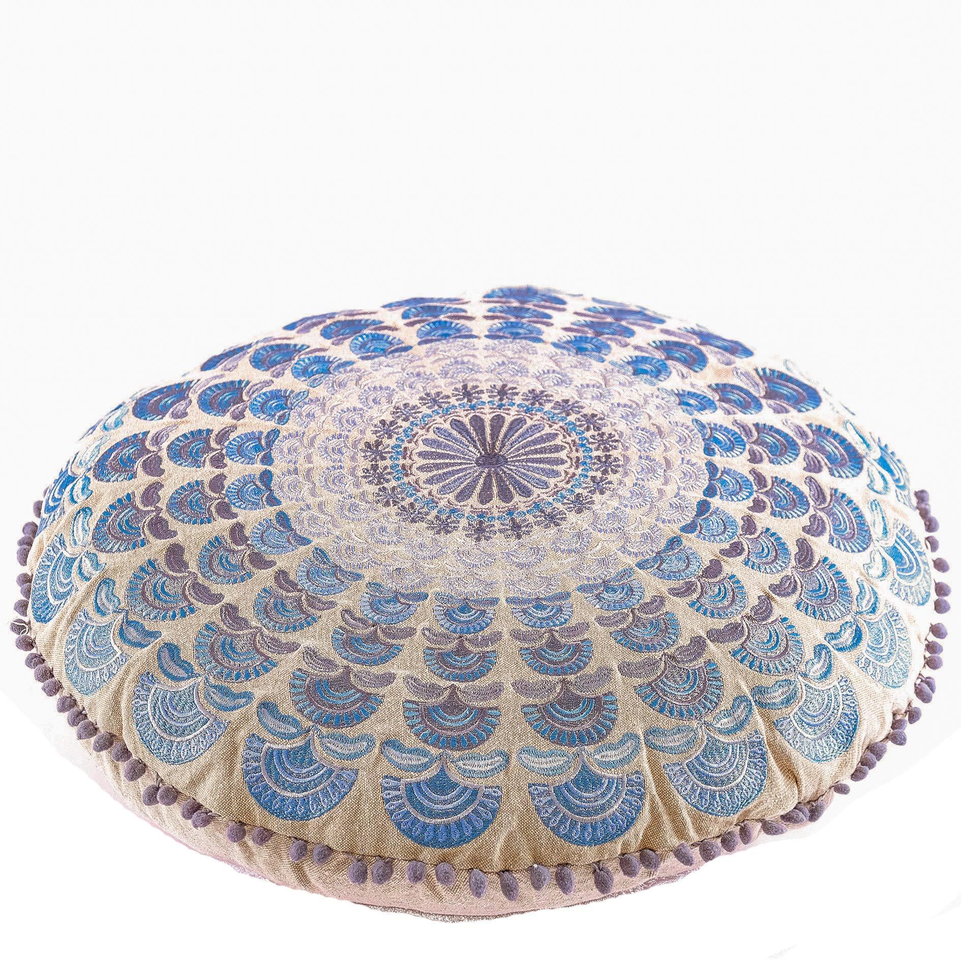 Mandala Life ART Peacock Pouf (Cushion Stuffed 24'', Blue Embroidery)