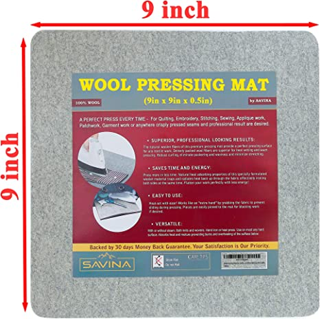 Bonus Silicone Iron Rest Pad 17 x 13.5 Get Your Quilting Station Anywhere Wool Pressing Mat 17 x 13.5-1//2 Inch Premium 100/% New Zealand Wool Ironing Pad for Quilters