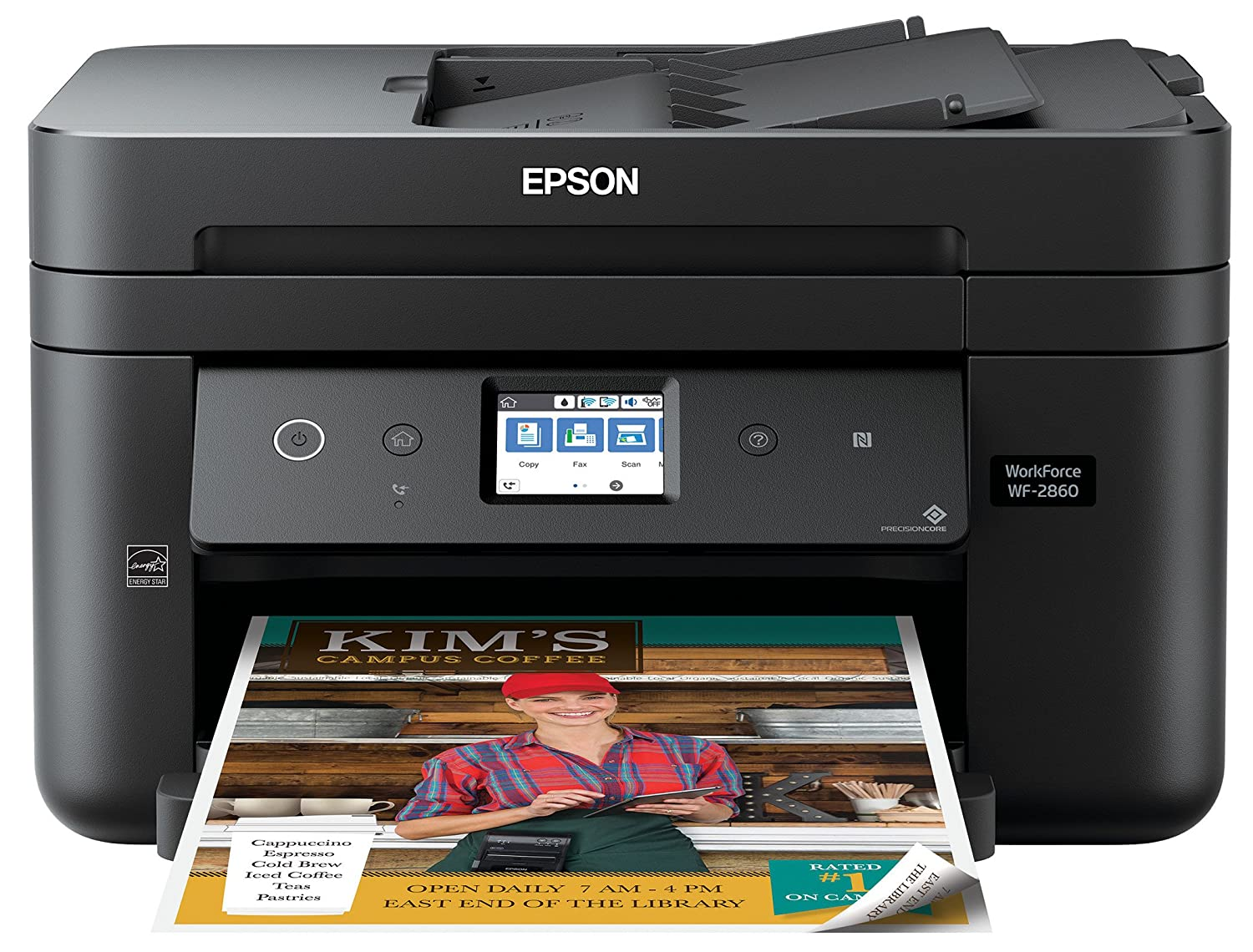 Epson Workforce WF-2860 All-in-One Wireless Color Printer with Scanner, Copier, Fax, Ethernet, Wi-Fi Direct and NFC,  Dash Replenishment Enabled