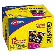 Avery Glue Stic, Washable, Non-Toxic, Permanent Adhesive, 0.26 Ounces Each, 12 White Glue Sticks (00166)