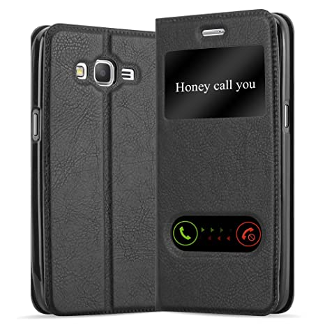 Cadorabo Funda Libro para Samsung Galaxy Grand Prime en Negro Cometa - Cubierta Proteccíon con Cierre Magnético, Función de Suporte y 2 Ventanas- View ...