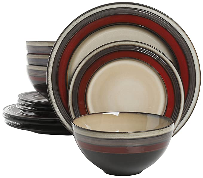 Dinnerware Sets Black Friday Part - 17: Amazon.com | Gibson Elite 116869.12R Everston 12 Piece Reactive Glaze Dinnerware  Set, Red and Cream: Dinnerware Sets