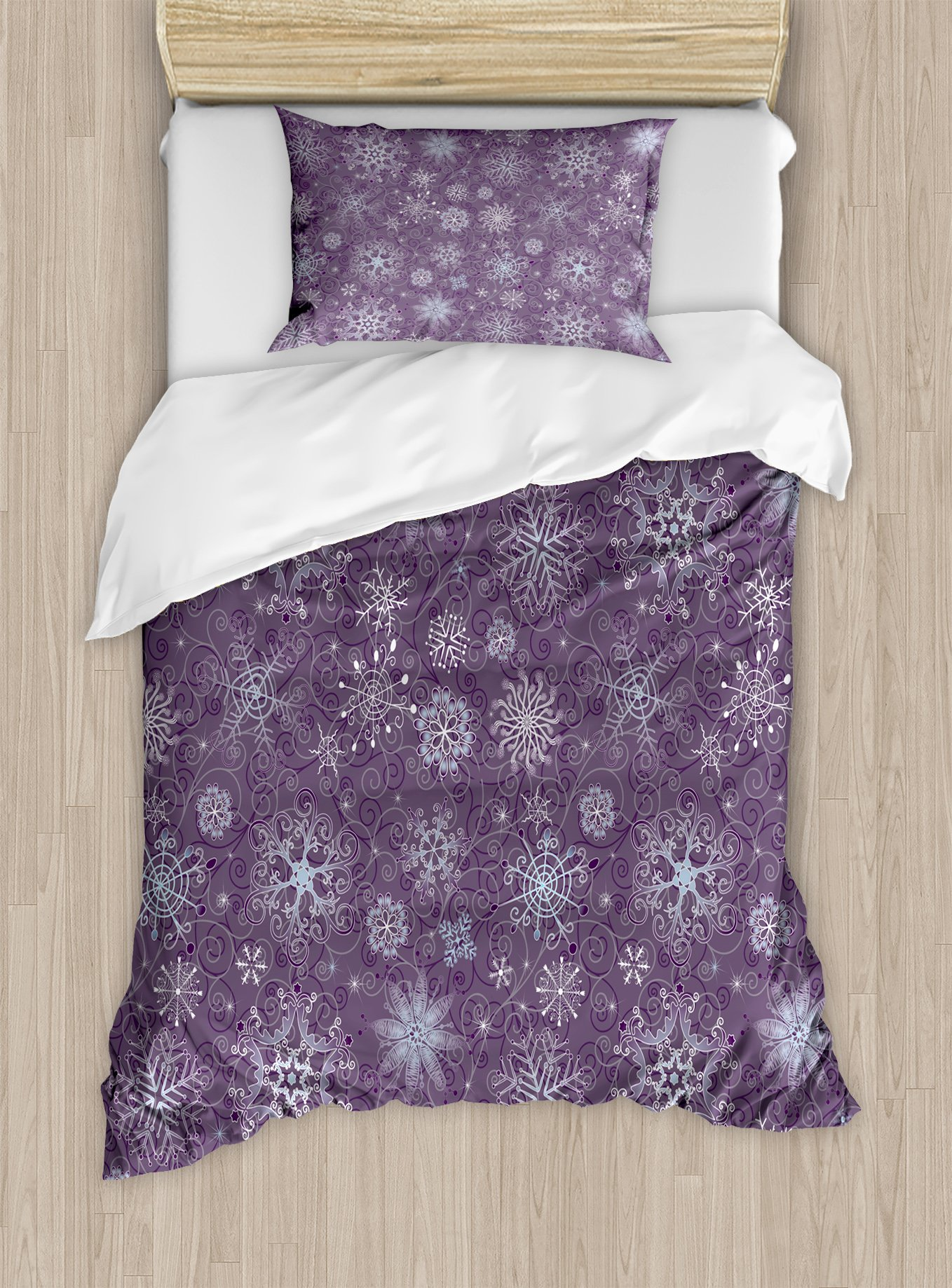 Ambesonne Eggplant Duvet Cover Set Twin Size, Christmas Inspired Cute Flowers Snowflakes and Swirls in a Violet Delicate Environment, Decorative 2 Piece Bedding Set with 1 Pillow Sham, Violet