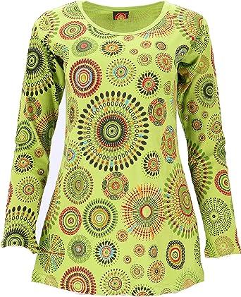 GURU SHOP Camiseta de manga larga bordada Hippie Chic Mandala para mujer, algodón, jersey, manga larga y sudadera, alternativa ropa verde lima ...