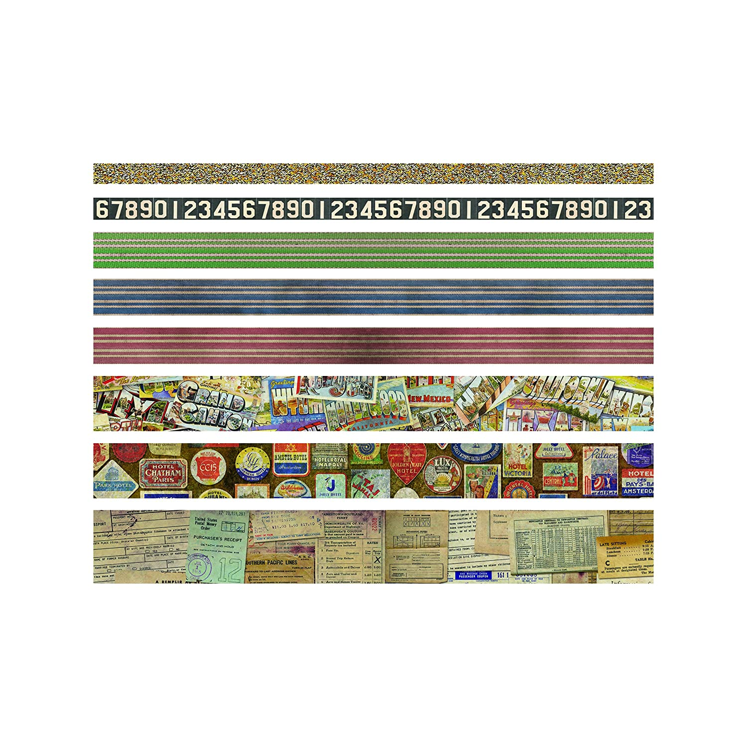 Design Tape - French by Tim Holtz Idea-ology, 8 Adhesive Rolls, Various Sizes (TIMTH.93355) Advantus Corp