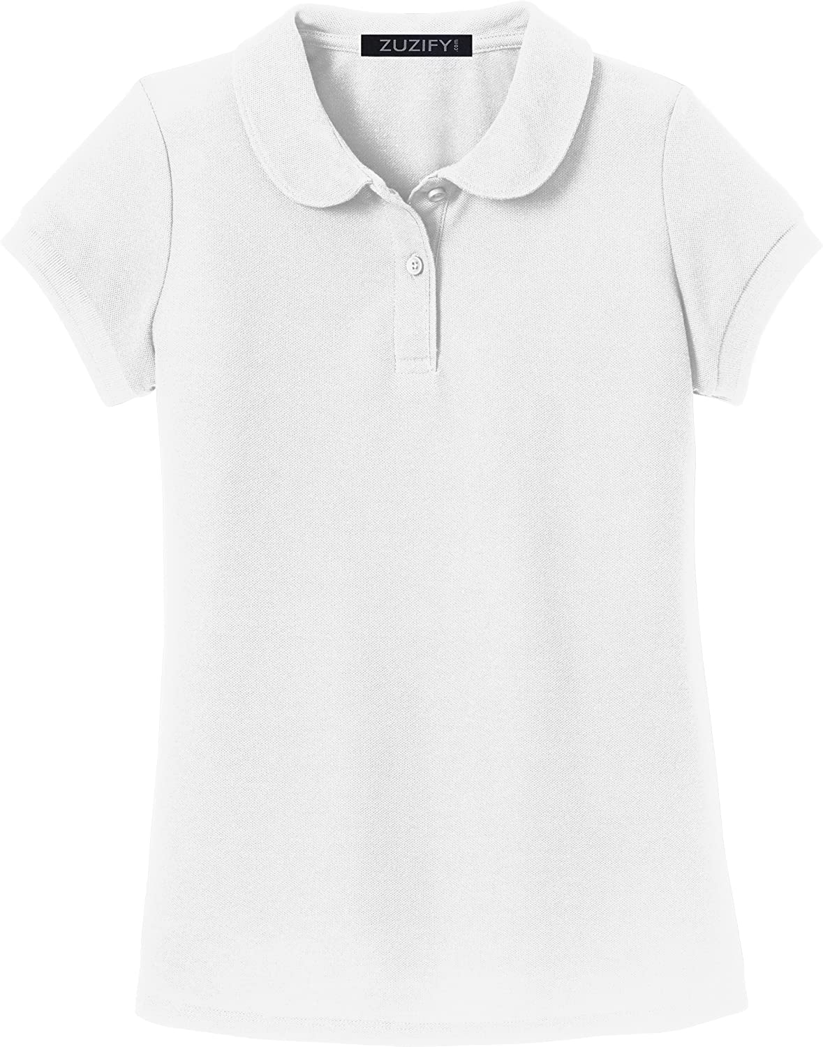 Amazon Zuzify Girls Soft Touch Peter Pan Collar Polo Shirt