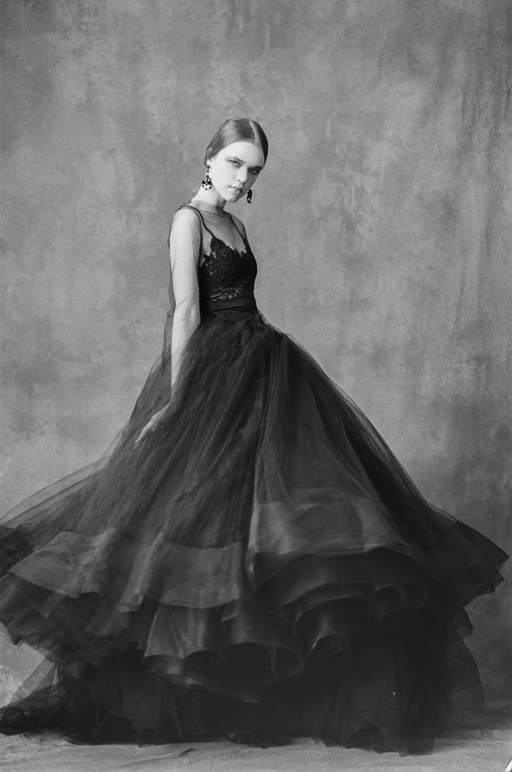 Bridal Full Length Black Tulle Bell Ball Gown Skirt by Corvus + Crux