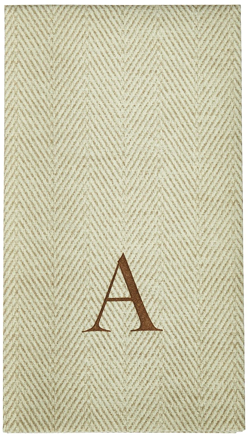 Entertaining with Caspari Jute Herringbone Paper Linen Guest Towels, Monogram Initial S, 24-Pack Caspari Inc. 9760GG.S