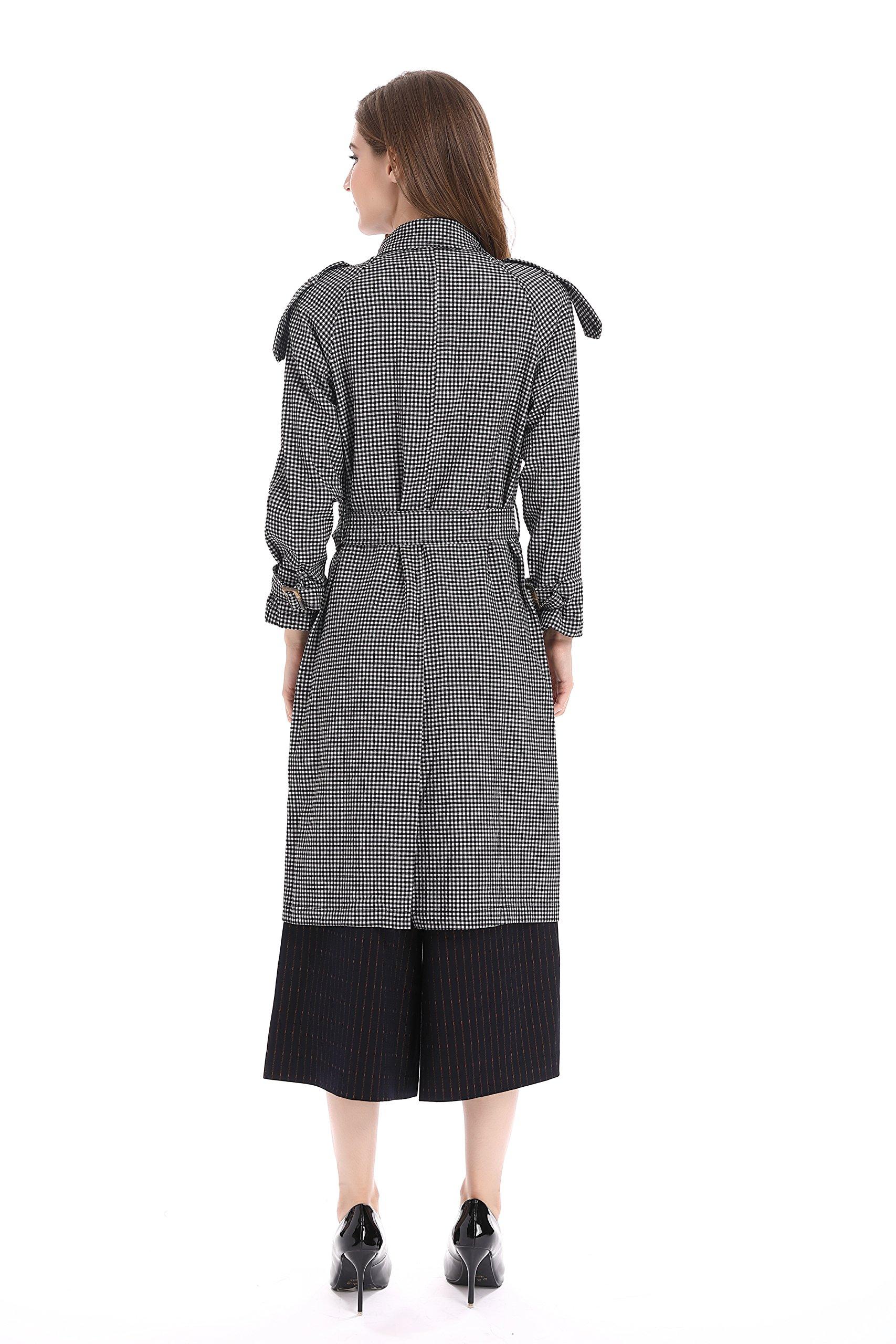 Bluemary Women's Fashion Fine Plaid Long Trench Coat With a Belt (medium, Greyish White) by Bluemary (Image #2)