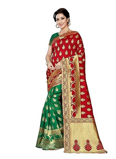 baa42b2779bfa3 Fabfort Women s banarasi silk Saree With Blouse Piece