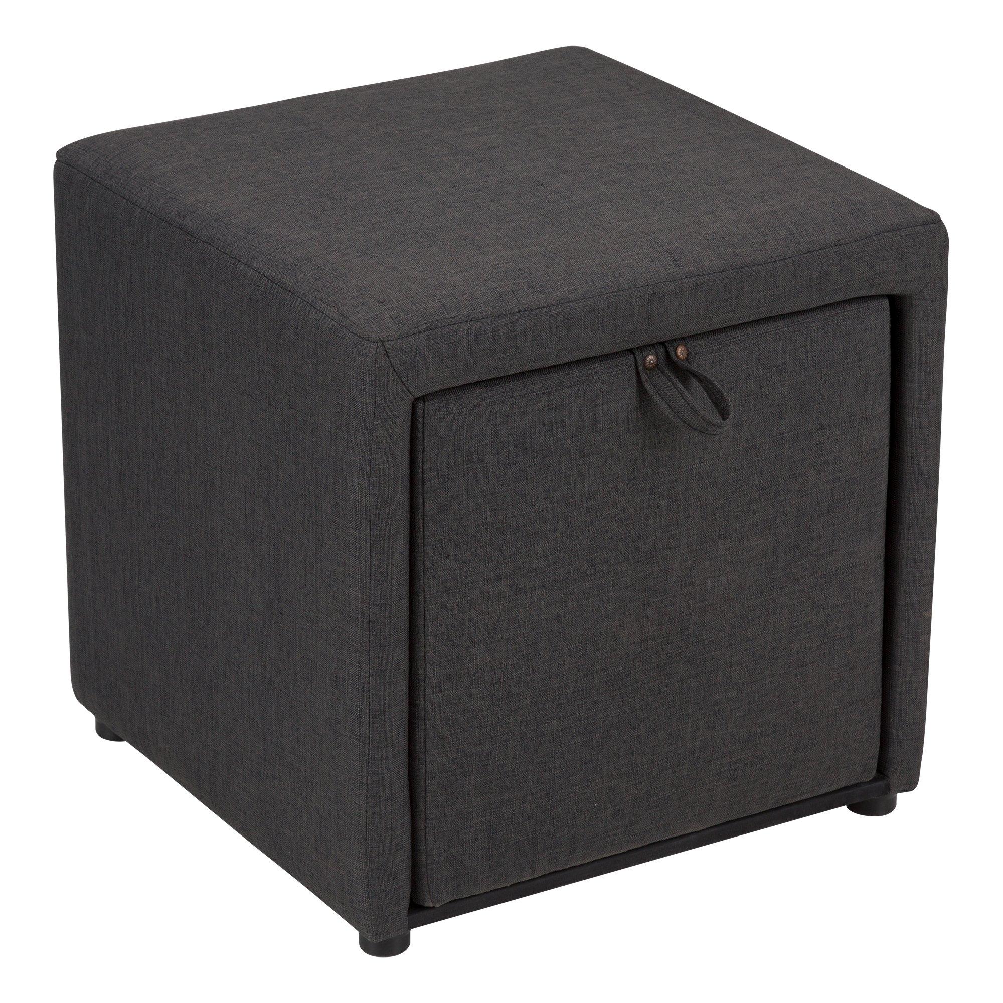 Fat Catalog Cube Storage Stool w/Drawer, Gray, ALT-OUG1001-SO by Fat Catalog (Image #1)
