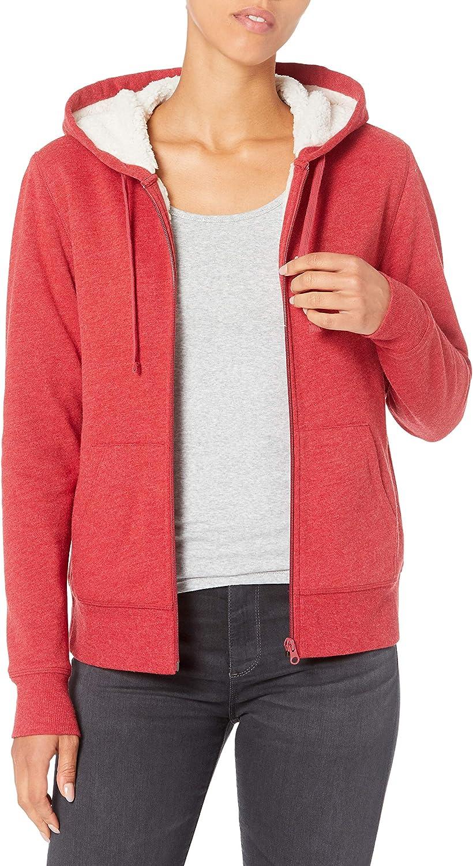 Essentials Women's Sherpa-Lined Fleece Full-Zip Hooded Jacket: Clothing