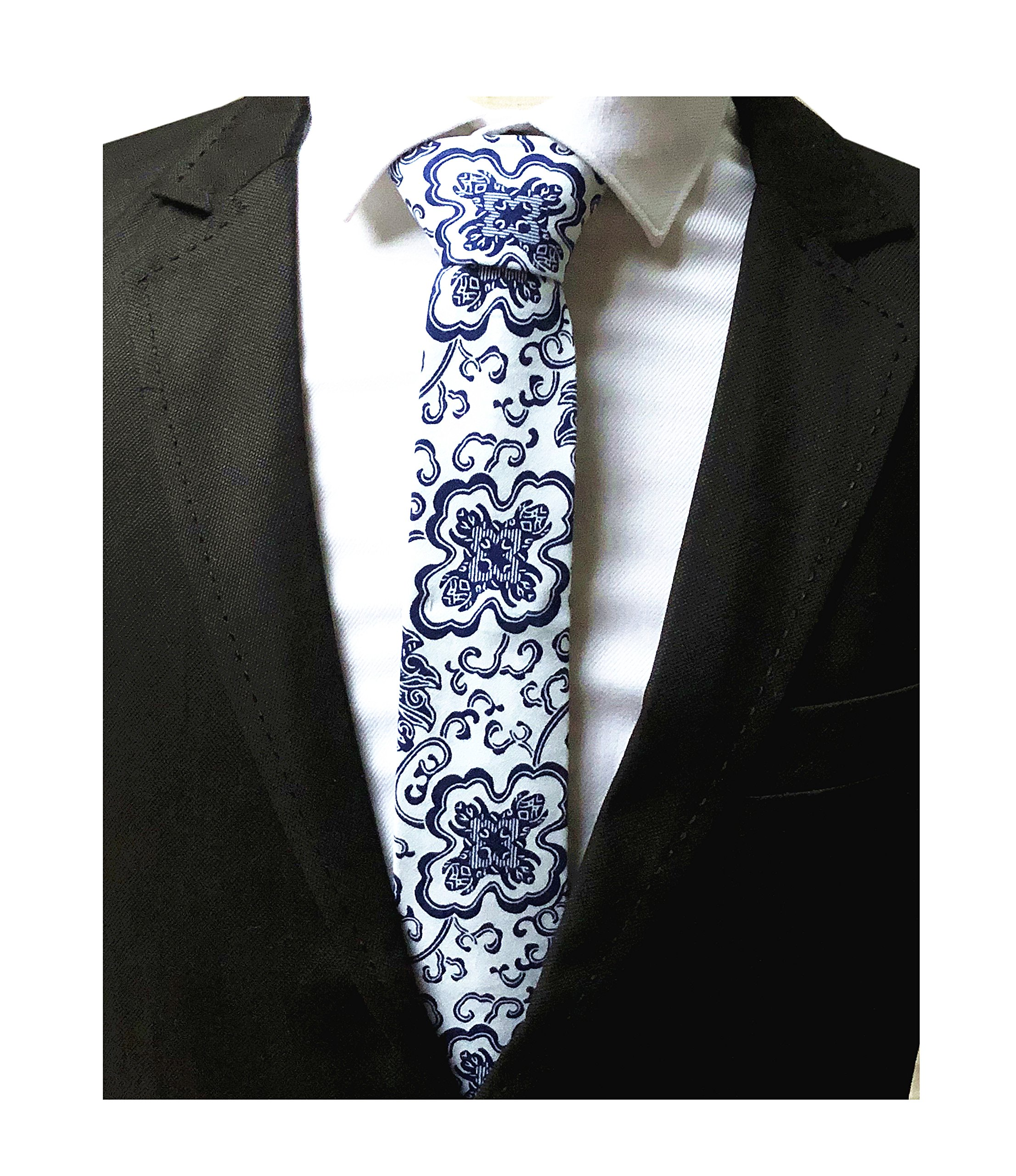 Men Blue and White Ties Porcelain Tile Printed Wedding Silm Necktie Skinny Width