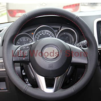 mazda 3 2014 black. hand sewing black genuine leather steering wheel cover for 2013 2014 2015 2016 mazda cx 3 r