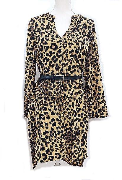 dad00f78bd24 Vestido Camisero Animal Print Leopardo Mujer Camisa: Amazon.es: Ropa ...
