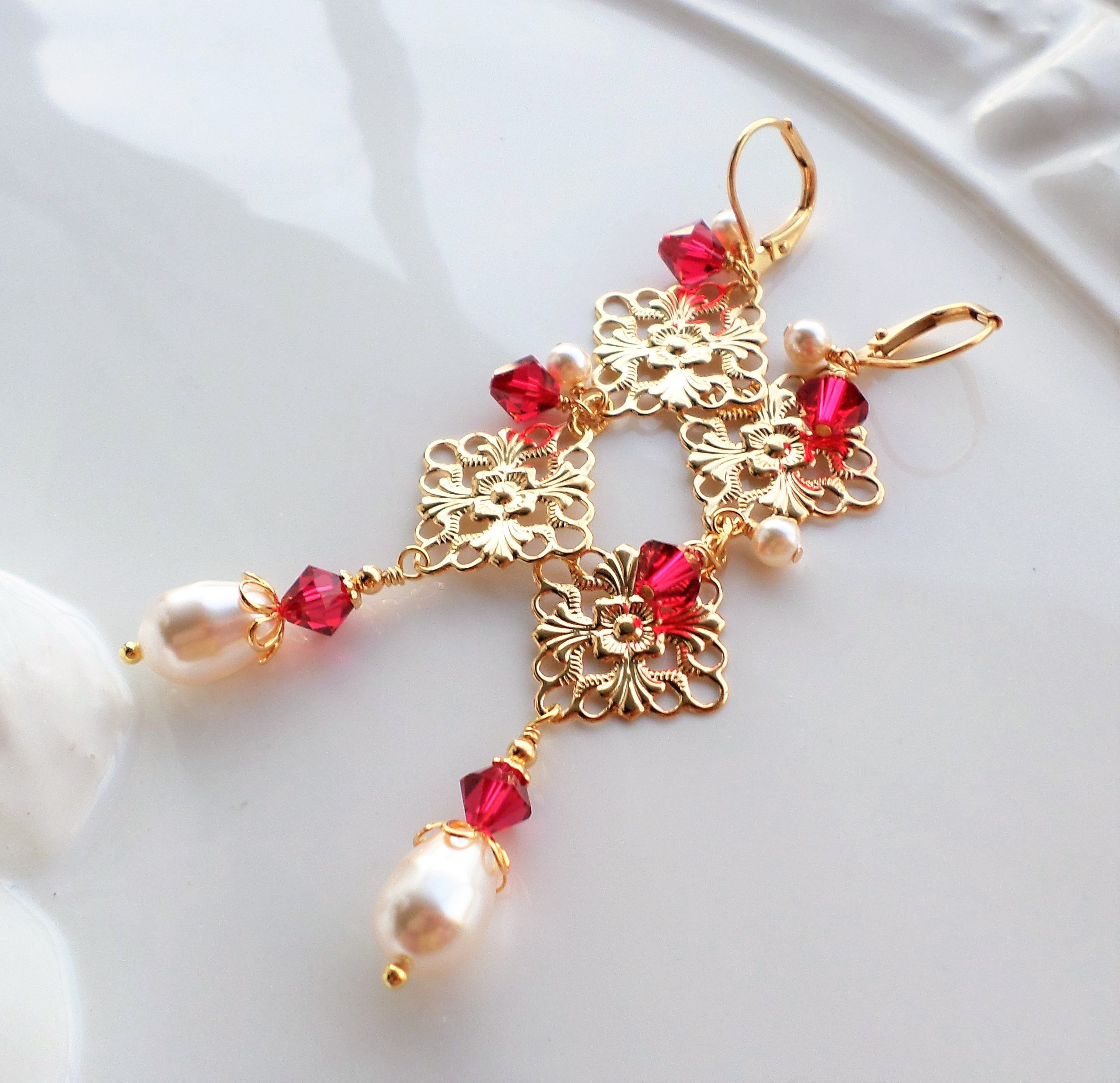 Red Crystal and Pearl Gold Chandelier Earrings