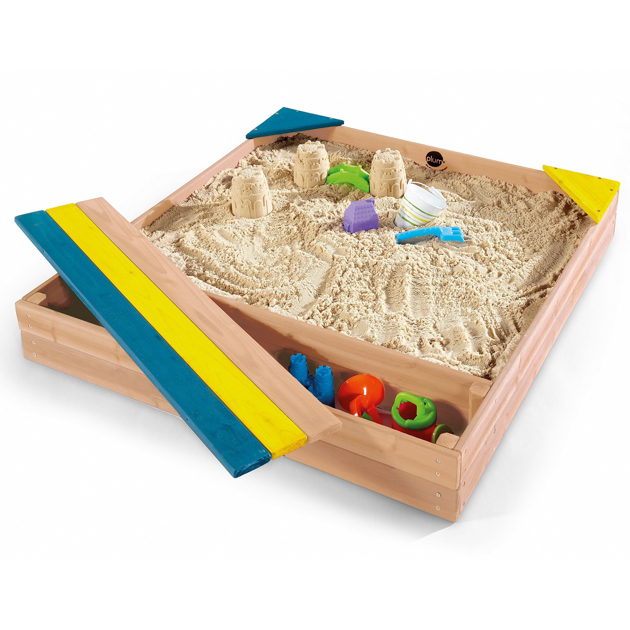 Plum Store-it Wooden Sand Box with Storage Bench and Seating