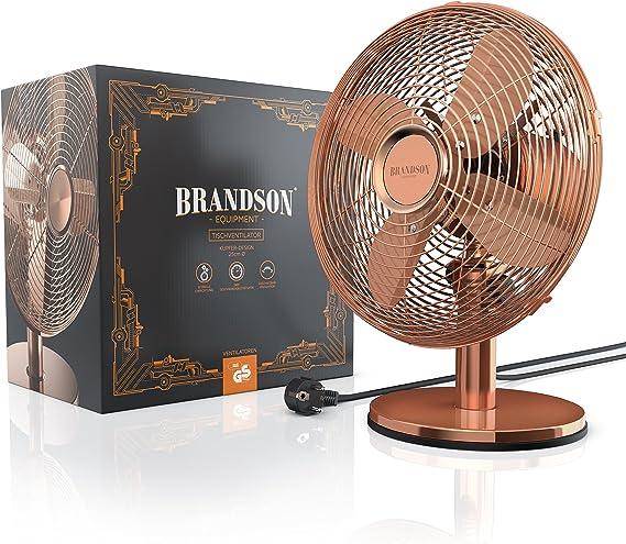 Brandson - Ventilador de Sobremesa Retro Copperline - Ventilador ...