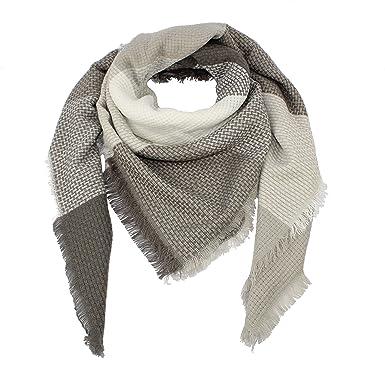 nativo Êcharpe Carreaux Tartan Cachemire Châle plaid Foulard Laine Hiver  femme (blanc gris claire)  Amazon.fr  Vêtements et accessoires dcf2d0e6e85