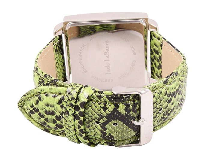 Amazon.com: Womens Square Face Watch Roman Numerals Green Leather Band Reloj de Mujer Jade LeBaum - JB202874G: Jade LeBaum: Watches