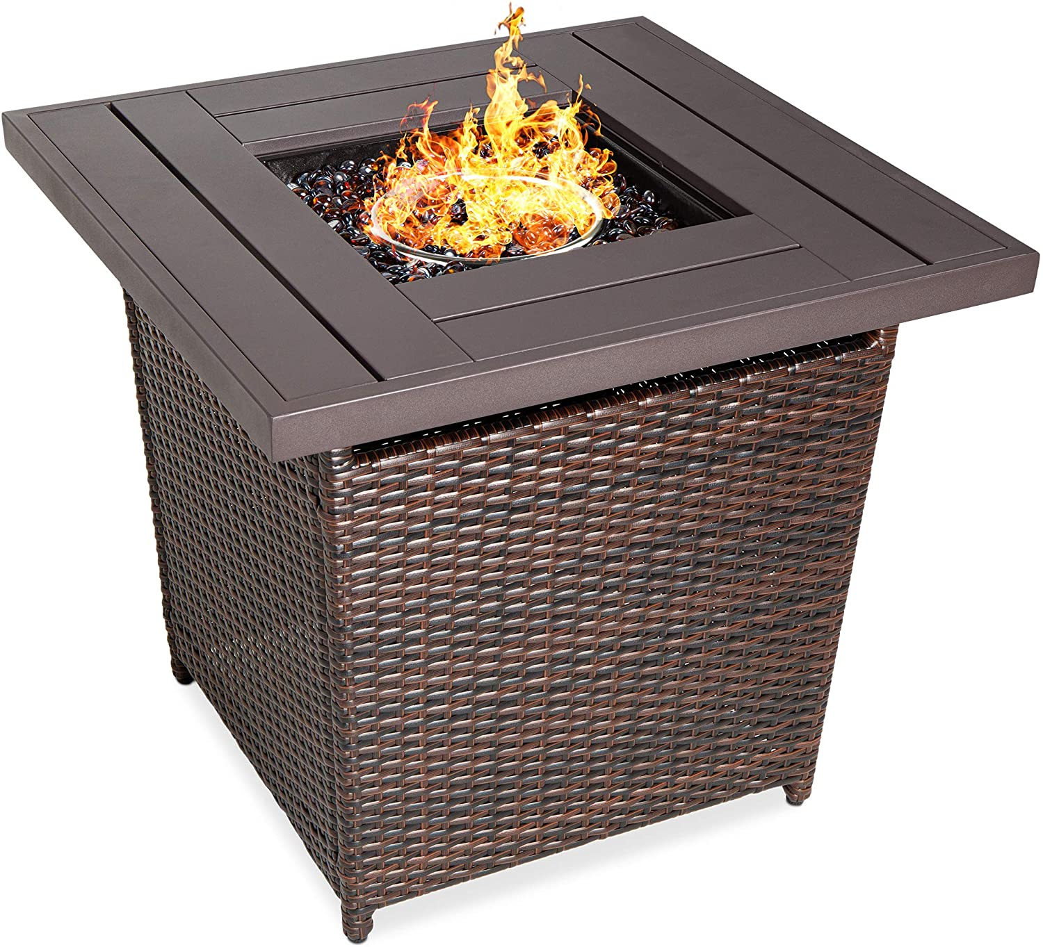 Amazon Com Best Choice Products 28in Fire Pit Table 50 000 Btu Outdoor Wicker Patio Propane Gas W Faux Wood Tabletop Glass Beads Cover Hideaway Tank Holder Lid Brown Garden Outdoor