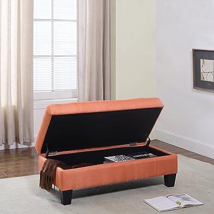 Superb Divano Roma Furniture Classic Large Fabric Rectangular Storage Ottoman Bench Orange Lamtechconsult Wood Chair Design Ideas Lamtechconsultcom