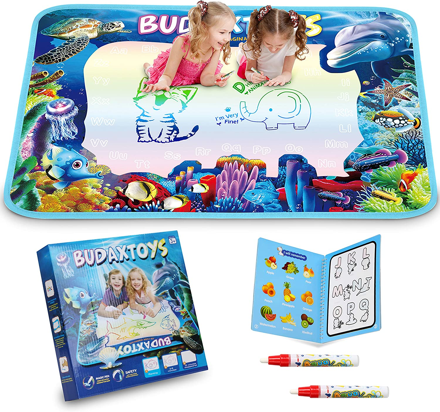 Hierceson Aqua Magic Doodle Mat 40 X 28 Inches Extra Large Water Drawing Doodling Mat Coloring Mat Educational Toys Gifts for Kids Toddlers Boys Girls Age 2 3 4 5 6 7 8 Year Old
