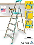 Euro Pro Household Aluminium Step Ladder 5 Steps - Made In Usa - Folding - Tool Tray - Abs Platform - Ultra Light Weight