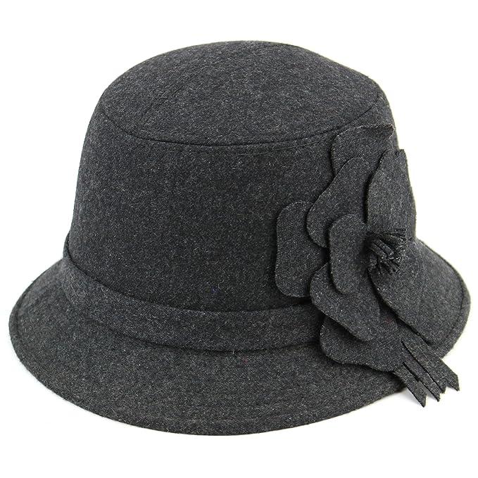 46ea4e0a769c3 De forma elegante con un traje de neopreno para mujer de lana gorro de bush  con detalle de flor. Gris oscuro  Amazon.es  Ropa y accesorios