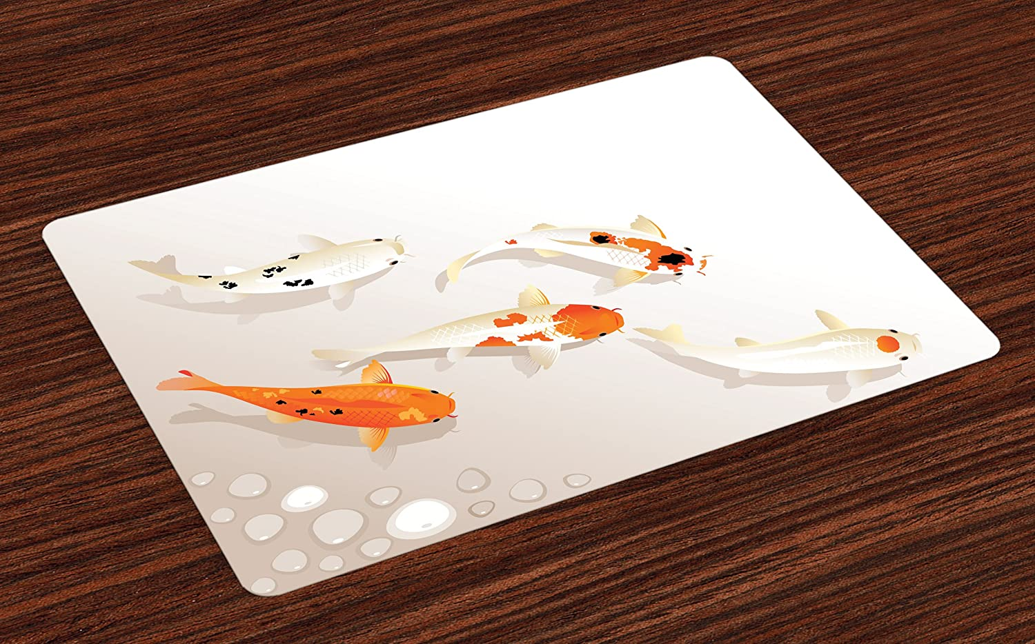 Ambesonne Koi Fish Place Mats Set of 4, Traditional Asian Sacred Spotty Koi Figures Carps Oriental Sign of Love Zen, Washable Fabric Placemats for Dining Room Kitchen Table Decor, Orange Beige