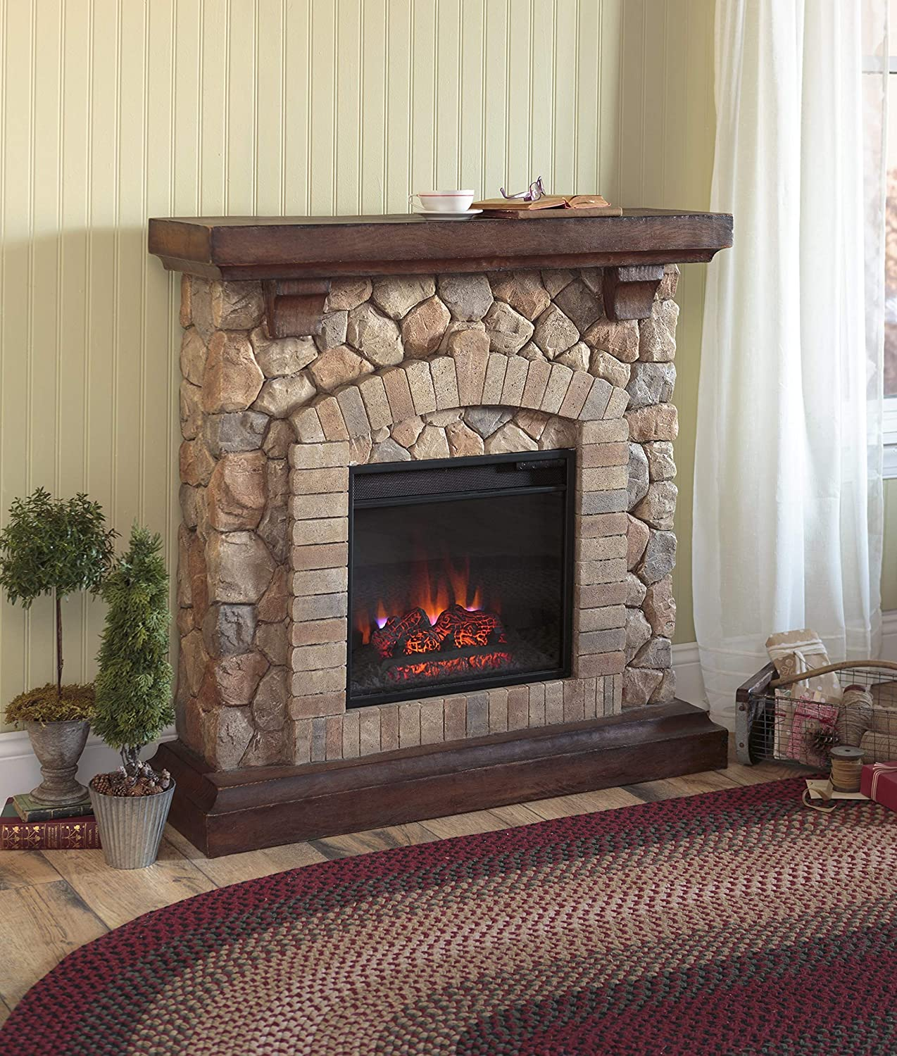 Amazon Com Plow Hearth Stacked Stone Free Standing Electric