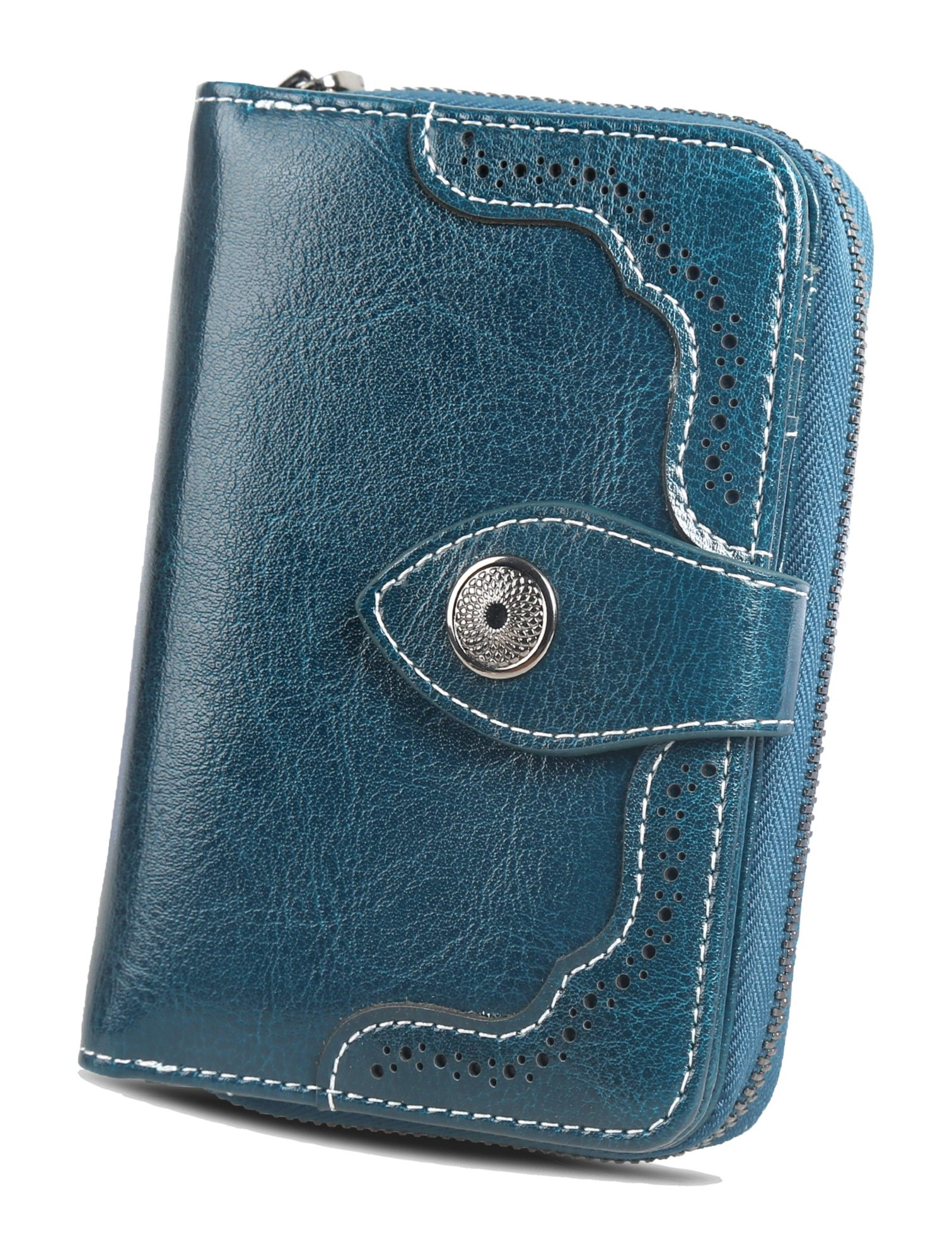 Womens Leather Small Wallet Card Case RFID Wallets Ladies Purse With ID Window