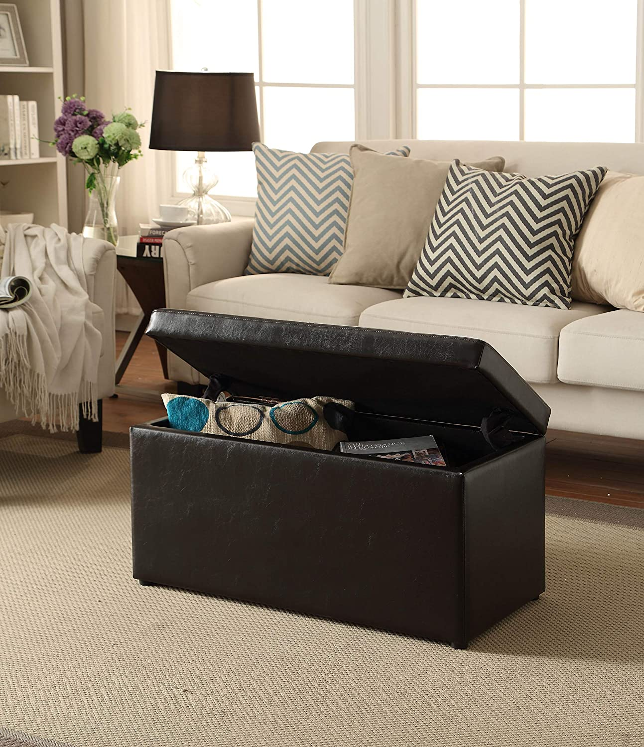 Better Homes and Gardens 30 Inch Hinged Storage Ottoman (Brown, 30-inch)